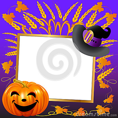 Festive hat and pumpkin on a background paper