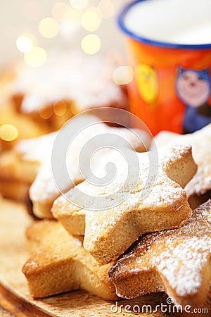 Festive homemade gingerbread  star cookies