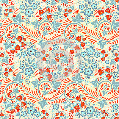 Festive khokhloma seamless pattern