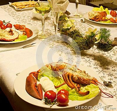Festive lobster dinner