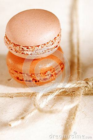 Festive macaroons on gift present box