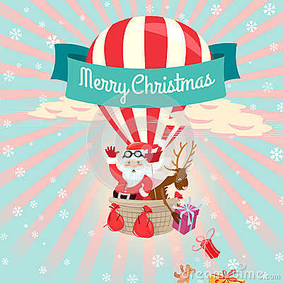 Free Festive Merry Christmas Greeting Card With Santa Claus And His D Royalty Free Stock Photos - 45463328