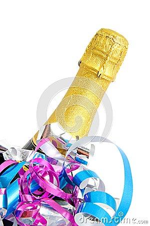 Festive neck of champagne bottle