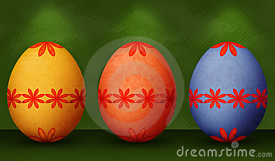 Festive Orange, Blue & Yellow Retro Easter Eggs