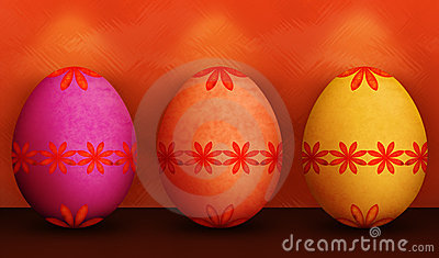 Festive Orange Purple Yellow Easter Eggs
