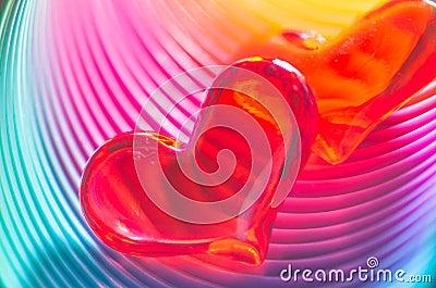 Festive rainbow Valentine Hearts
