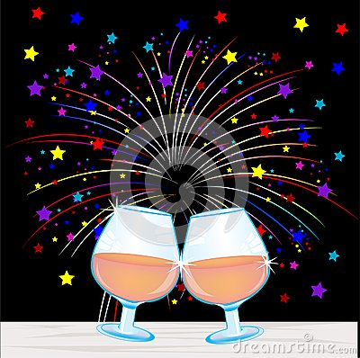 Festive salute and goblets with wine