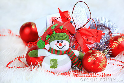 Festive snowman with
