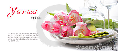Festive spring table setting, ready template
