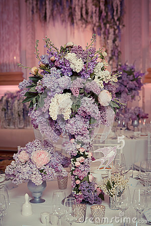 festive table decoration in lilac colours stock photo. Black Bedroom Furniture Sets. Home Design Ideas