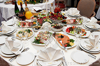 Festive table setting for banquet