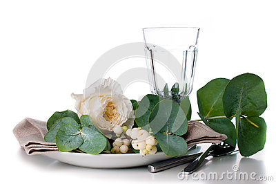 Festive table setting with floral decoration