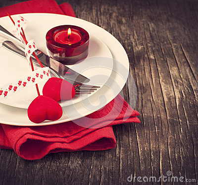 Festive table setting for Valentine s Day