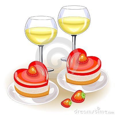 On the festive table, two glasses of white wine. Romantic cake in the shape of heart. Suitable for lovers on Valentine s Day. Cartoon Illustration