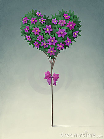 Festive tree in the shape of  heart.
