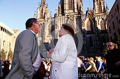 Festivities outside Cathedral of Santa Eulalia Editorial Image