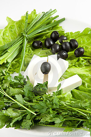 Feta cheese with black olives