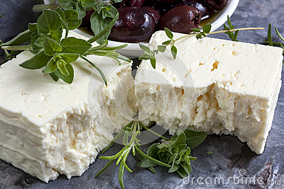 Feta Cheese with Black Olives and Fresh Herbs