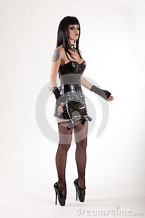 Fetish woman in leather corset