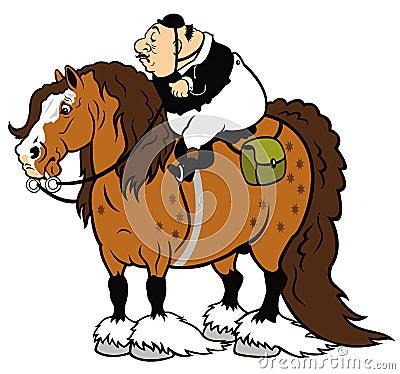 Fetter Reiter auf schwerem Pferd