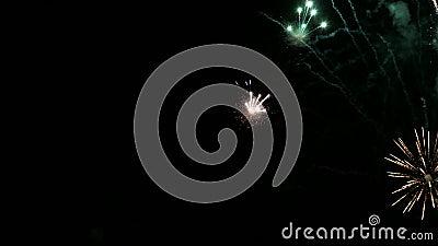 Feu d'artifice coloré dans le ciel nocturne clips vidéos