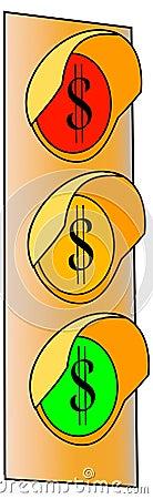 Feu de signalisation de signe du dollar 2