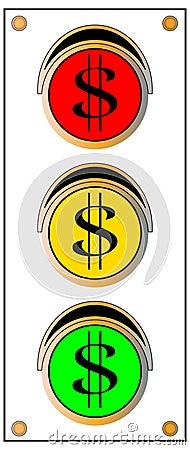 Feu de signalisation de signe du dollar