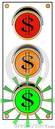 Feu vert de circulation de signe du dollar