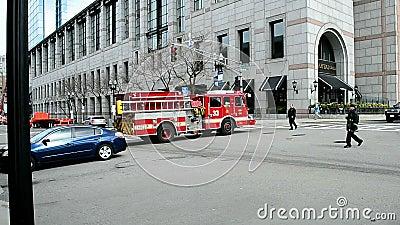 Feuer-Auto, Boylston-Straße in Boston, USA, stock video