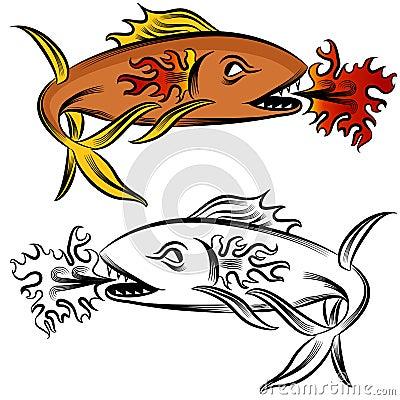 Feuer-Fisch-Zeichnung