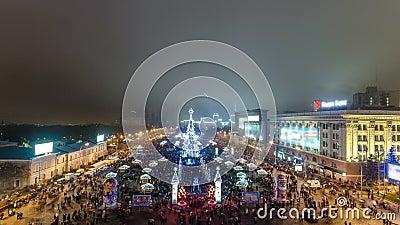 Feuerwerk über Weihnachtsbaum timelapse, Kharkov, Ukraine stock video
