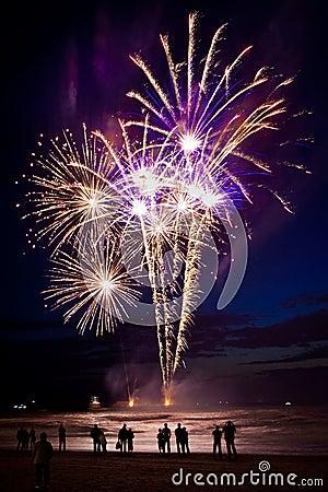 Feuerwerke auf dem Strand