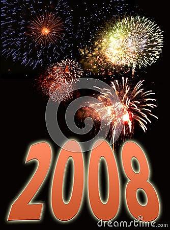 Feuerwerke und Text 2 des neuen Jahres
