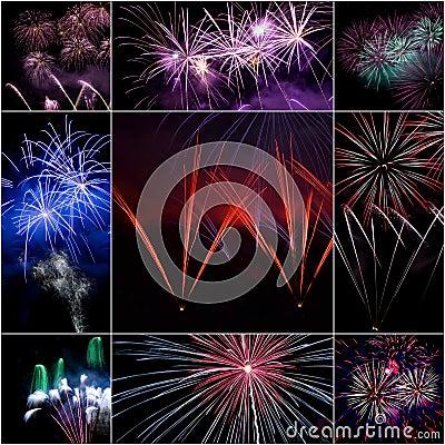 Feuerwerks-Collage