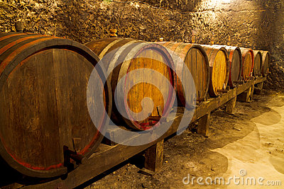 Few barrels in wine cellar