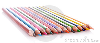 Few color pencils isolated