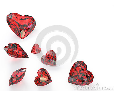 Few heart cut rubies