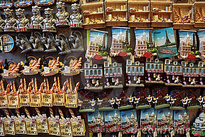 Few rows of magnet souvenirs Editorial Stock Image