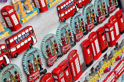 Few rows of magnet souvenirs from London Editorial Photography