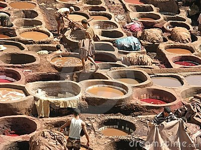 Fez, Morocco - The oldest tannery in the world Editorial Stock Image