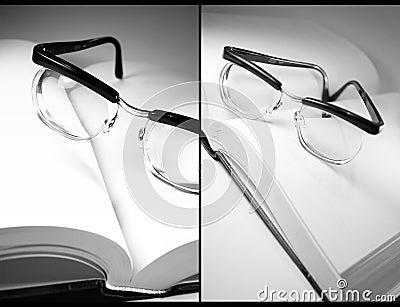 Öffnen Sie Buch und Brillen