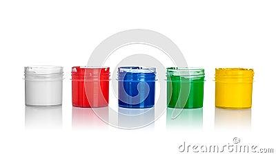 ffnen sie dosen farbe gelb gr n blau rot wei e farben stockfoto bild 45865898. Black Bedroom Furniture Sets. Home Design Ideas