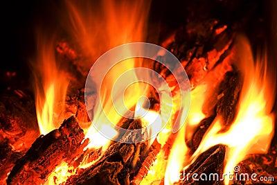 Fiamma e fuoco di accampamento di calore.
