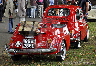 A Fiat 500  with its Fiat 500 trailer Editorial Stock Image