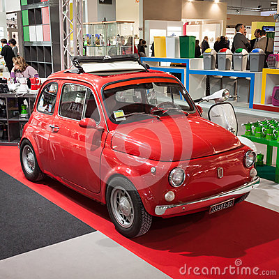 Fiat 500 car on display at HOMI, home international show in Milan, Italy Editorial Photography