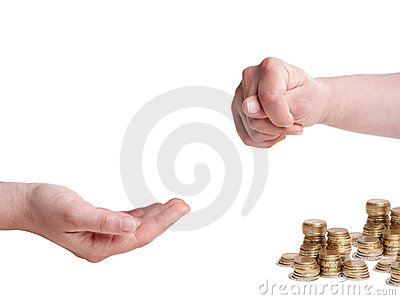 Fico gesture to hand asking for money