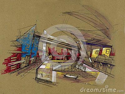 Fiction perspective drawing future train station