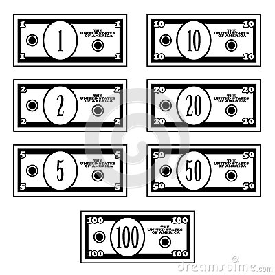 Fictional black white dollar banknotes
