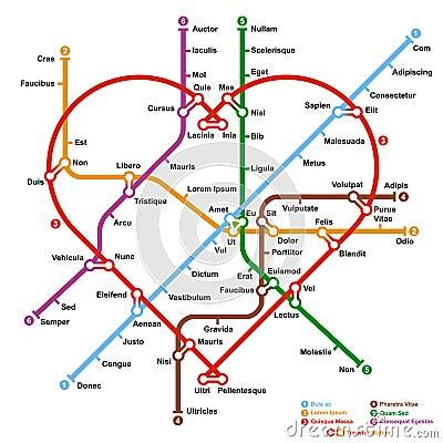 Fictional metro map in shape of heart