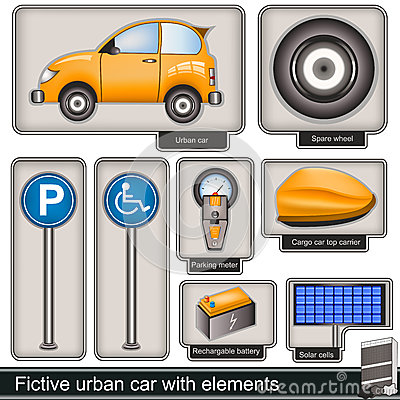 Fictive urban car with elements